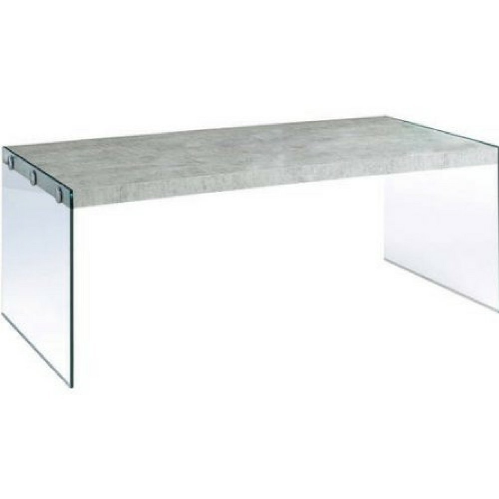 Monarch Reclaimed-Look/Tempered Glass Cocktail Table (Grey Cement)