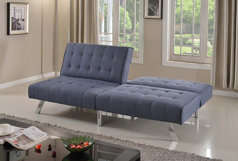 "Home Life Linen with Split Back Adjustable Klik Klak Sofa Futon Bed Sleeper Convertible Quality, 77"" Wide, Blue"