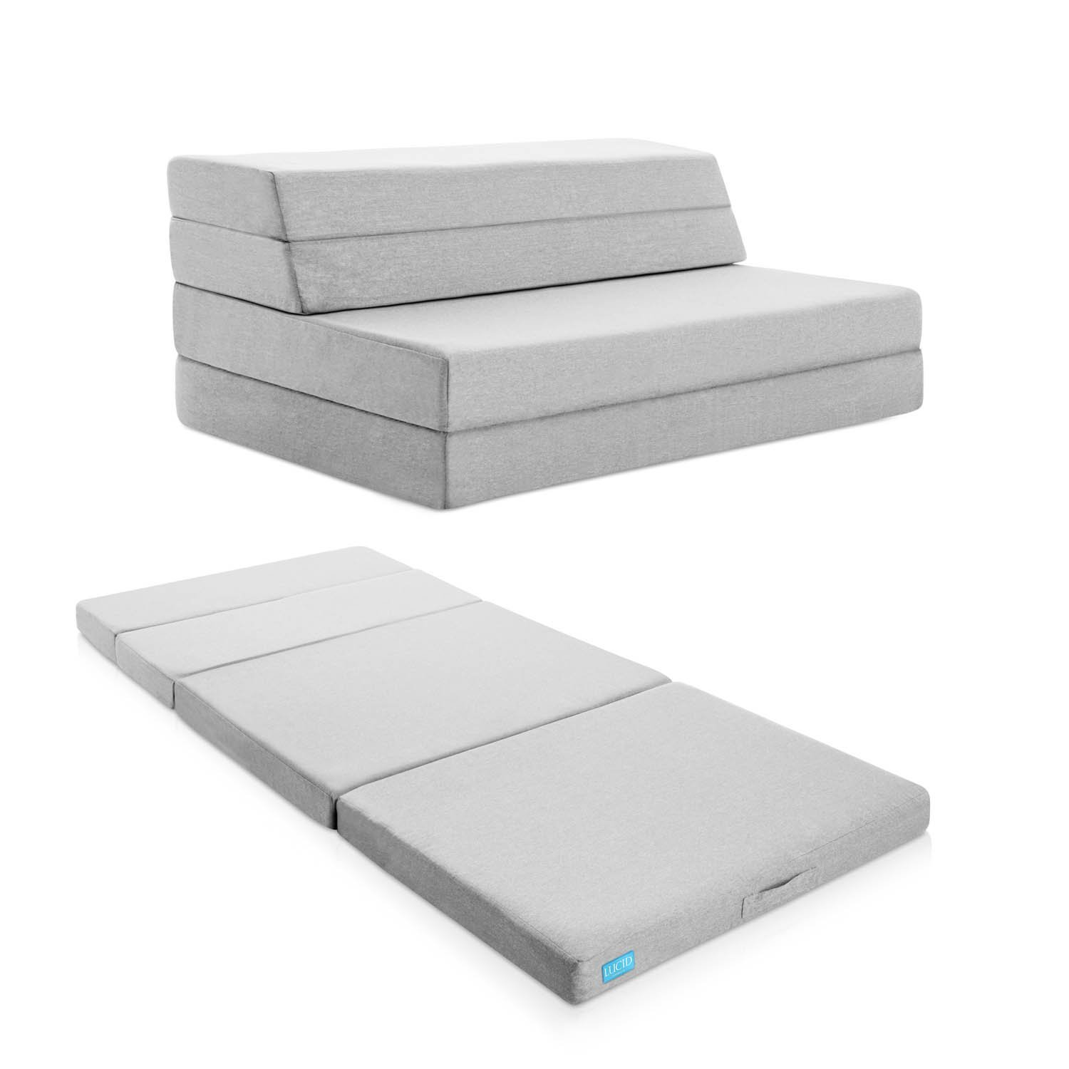 LUCID 4 Inch Folding Mattress and Sofa with Removable Indoor / Outdoor Fabric Cover - Twin Size