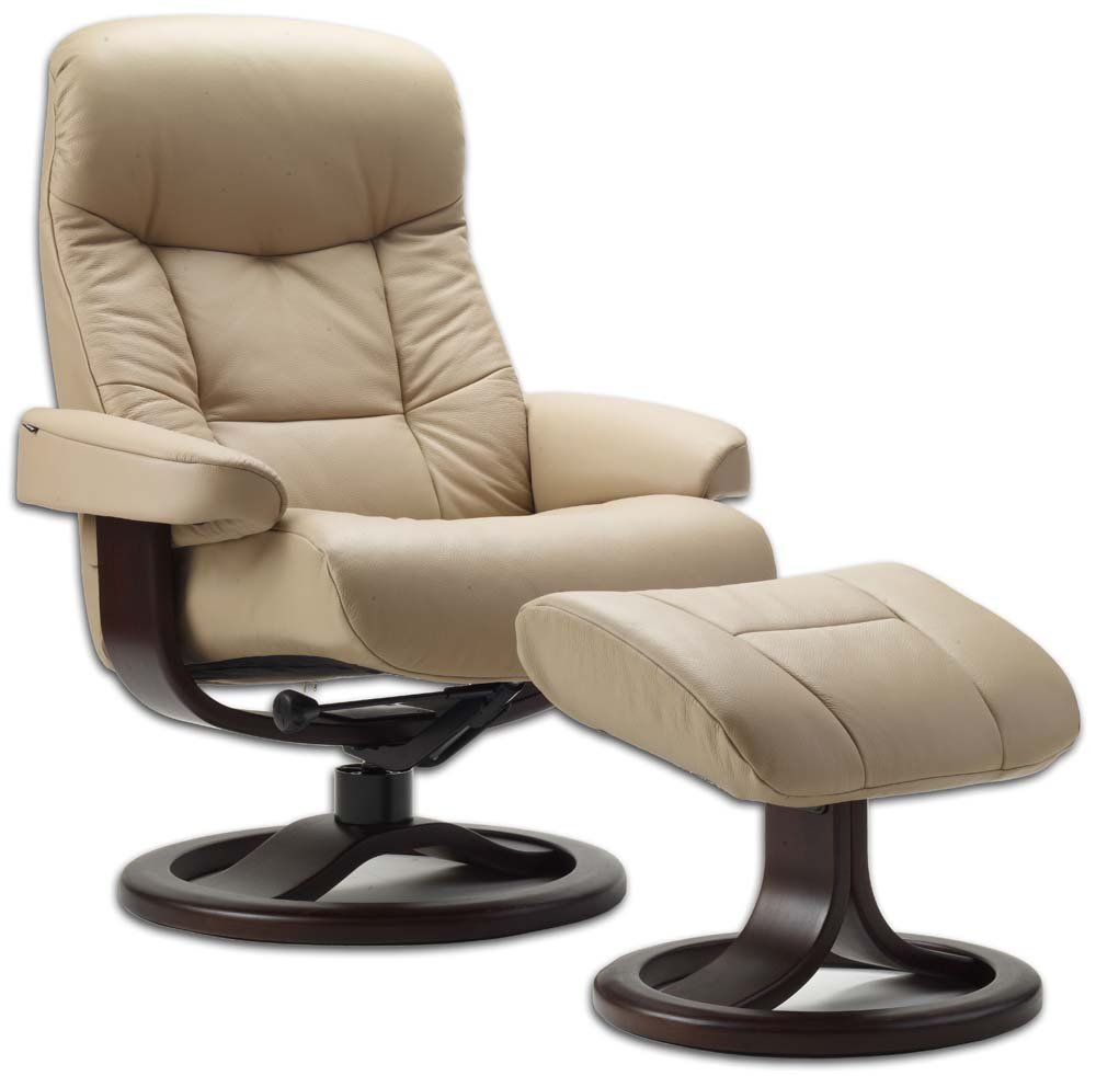 Leather Norwegian Ergonomic Scandinavian Lounge Reclining Chair Fjords 215 Small Muldal Recliner Furniture Nordic Line Genuine Cappuccino Leather Walnut Wood