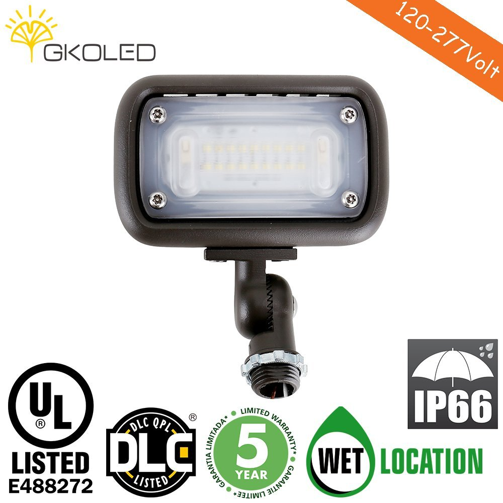 "15W Outdoor LED Flood Security Lights, Waterproof Landscape Lighting, 50W PSMH Equivalent, 1370 Lumens, 3000K Warm White, 120-277V, 1/2"" Knuckle Mount, UL-listed and DLC Qualiified, 5 Years Warranty"