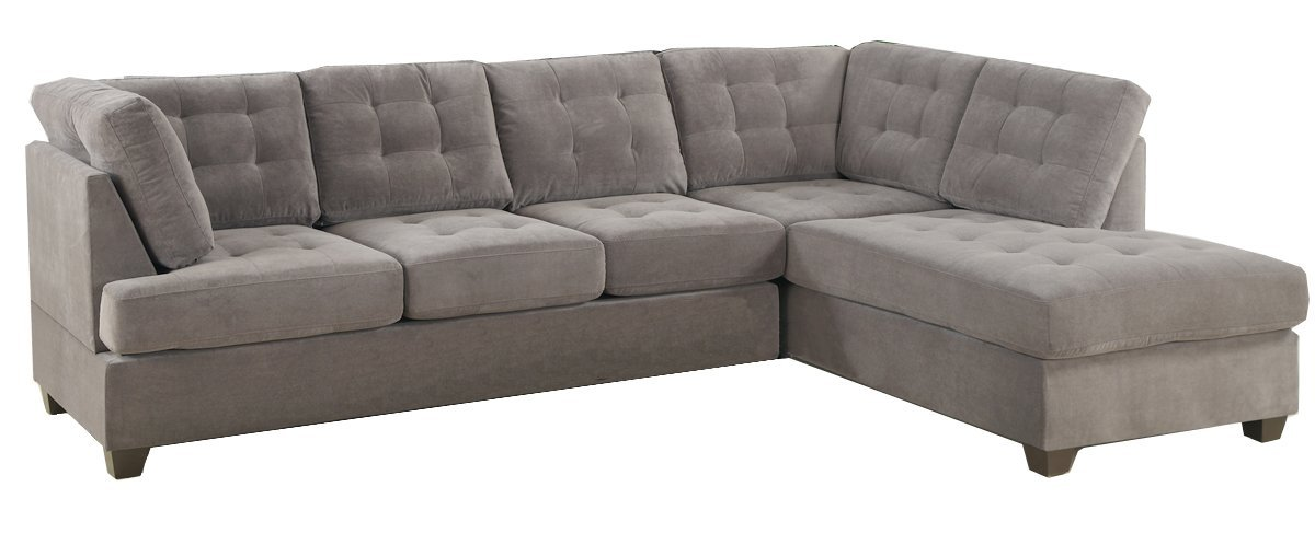 2 pc Charcoal waffle suede fabric upholstered reversible sectional sofa with chaise lounger