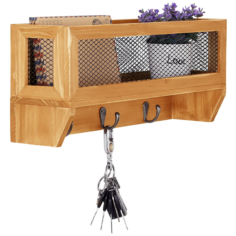 3-Hook Rustic Wooden Wall Mounted Entryway Organizer Rack with Metal Mesh Storage Basket