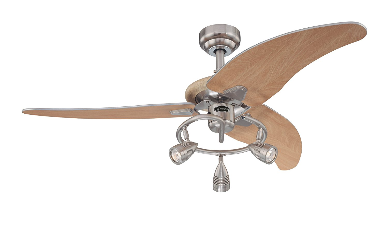 7850500 Elite 48-Inch Brushed Nickel Indoor Ceiling Fan, Light Kit with Three Spotlights