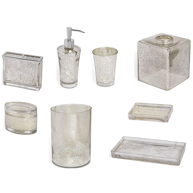 8-Piece Bath Accessory Complete Set by Kassatex, Vizcaya Bath Accessories
