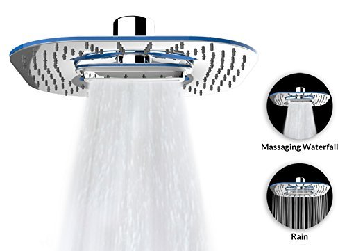 """A-Flow™ 2 Function – Waterfall and Water Spray - Luxury Large 8"""" Shower Head / ABS Material with Chrome Finish / Enjoy an Invigorating & Luxurious Spa-like Experience – LIFETIME WARRANTY"""