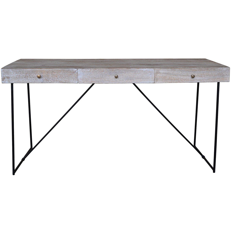 A&B Home Inc. Watson Narrow Grey Wood 3-Drawer Console Table