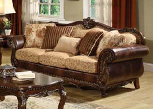 ACME 50155 Remington Bonded Leather and Fabric Sofa, Brown Cherry Finish