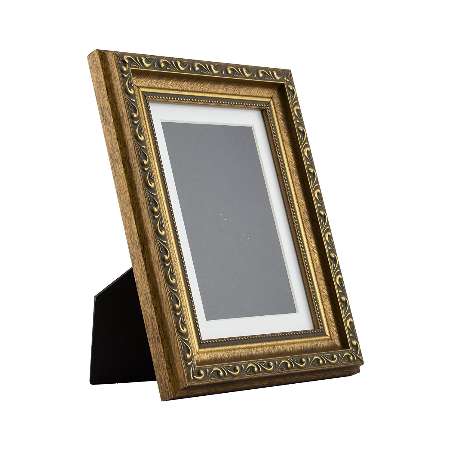 Ancien Ornate Table-top 5x7 Antique Gold Standing Picture Frame with Mat
