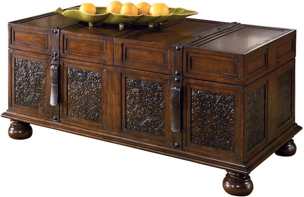 Ashley Furniture Signature Design - McKenna Coffee Table with Storage - Coctail Height - Dark Brown