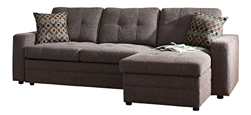 """Coaster Gus 501677 98"""" Sectional Sofa with Pull Out Bed Chaise Kiln Dried Hardwood Frame Sinuous Spring Base Track Arms Plush Cushions and Fabric Upholstery in Black"""