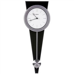 """Contemporary Pendulum Wall Clock 23"""" Tall, Solid Wood and Metal, From Top Drawer"""