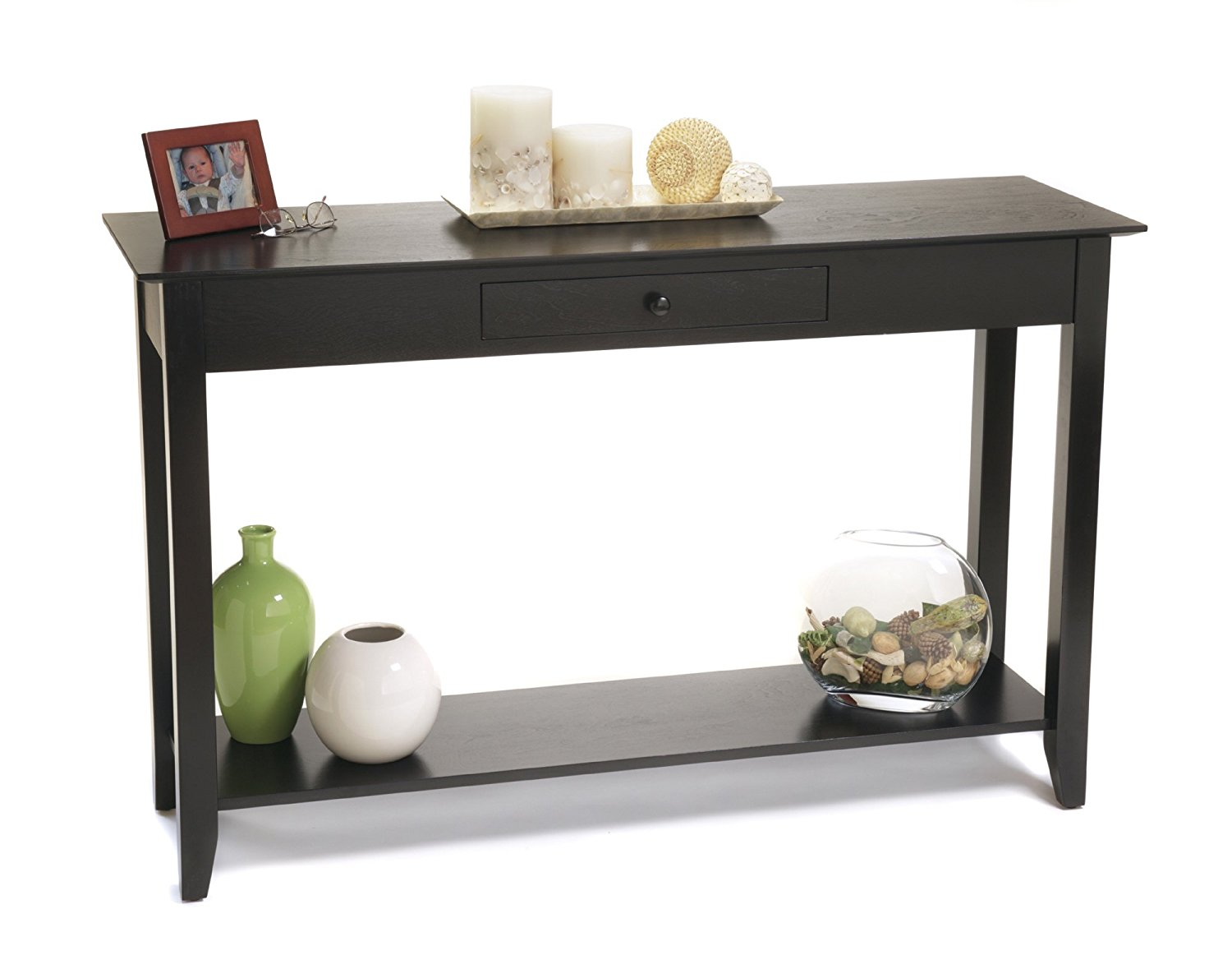 Convenience Concepts American Heritage Console Table with Drawer and Shelf, Black