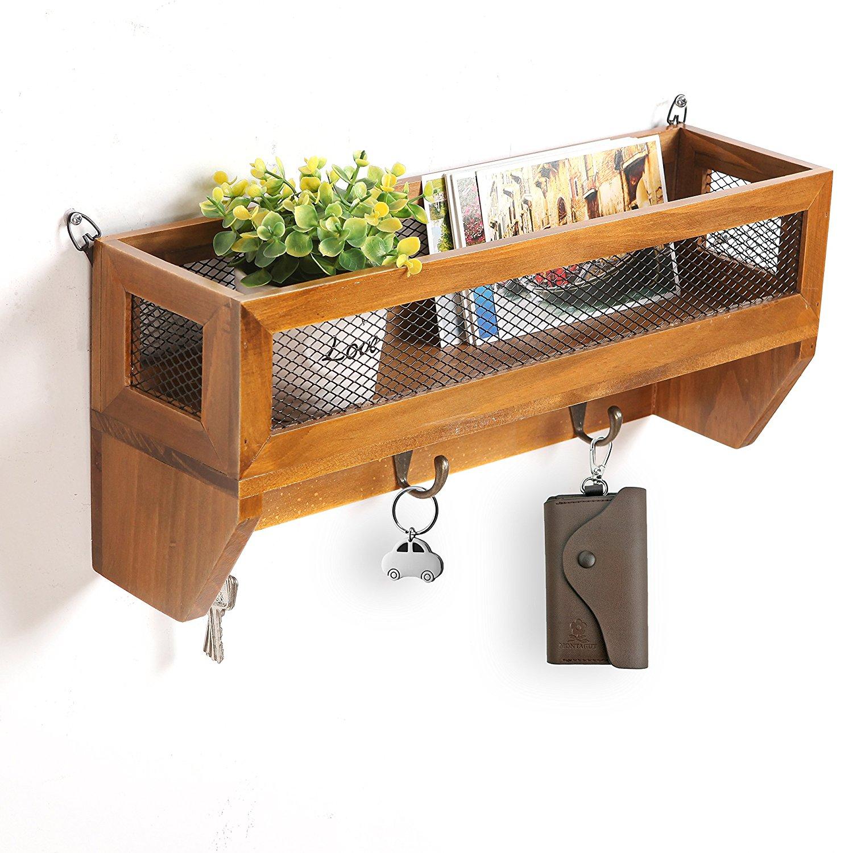 Country Rustic Dark Brown Wood & Metal Wall Mounted Storage Wire Mesh Basket Rack w/ Coat Hooks - MyGift