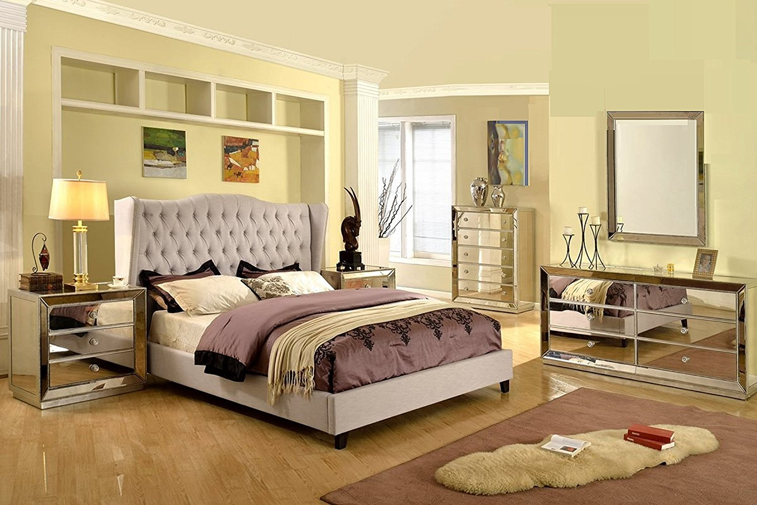 Formal Silver Mirrored Jameson Bedroom Set Taupe Color Queen Size Bed Wing Back Linen Blend Tufted HB w Classic Dresser Mirror Nightstand 4pc Set Nailhead Trim