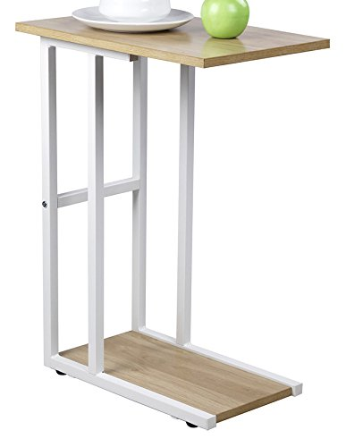 GIA C Shape Side End Table - Sofa Height -Faux Reclaimed Wooden Top and Bottom with Heat Resistance Treatment,Wooden Color - White Frame - Easy Assemble
