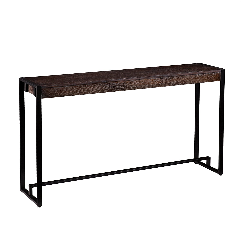 Holly & Martin Macen Media Console Table, Burnt Oak with Black Finish