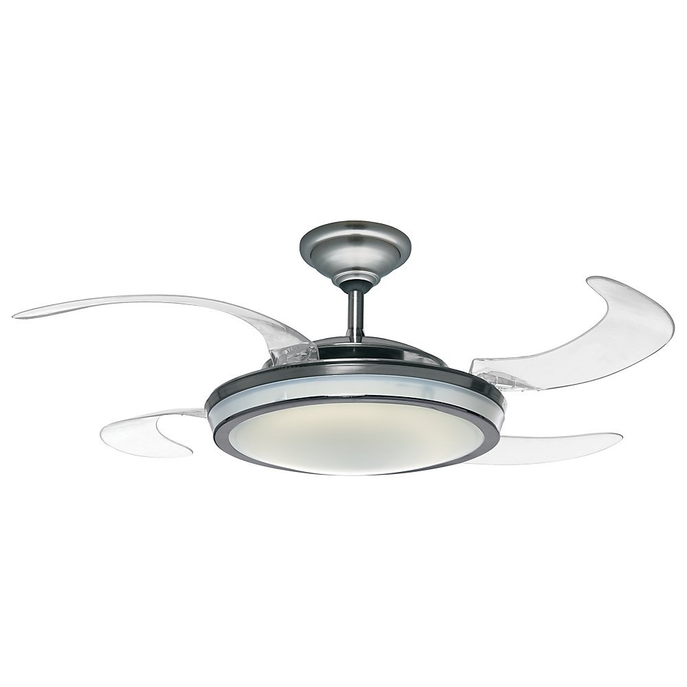 """Hunter 59085 Fanaway Retractable Blade 48"""" Brushed Chrome Ceiling Fan with Light Kit and Remote Control"""