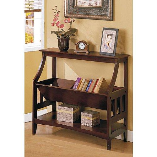 Ikcco Three-shelf Walnut Brown Solid Wood Bookshelf