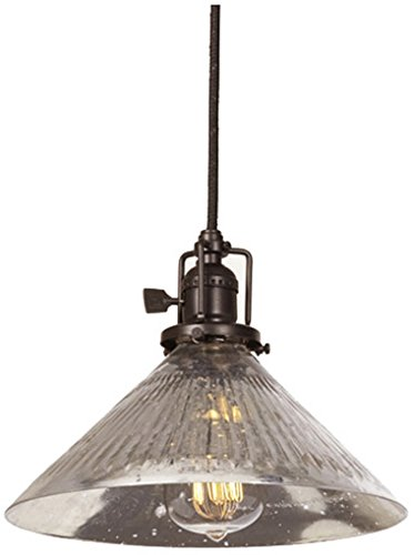 """JVI Designs 1200-08 S2-SR 1-Light Union Square Pendant with Antique Mercury Ribbed Mouth Blown Glass Shade, 10"""" Wide"""