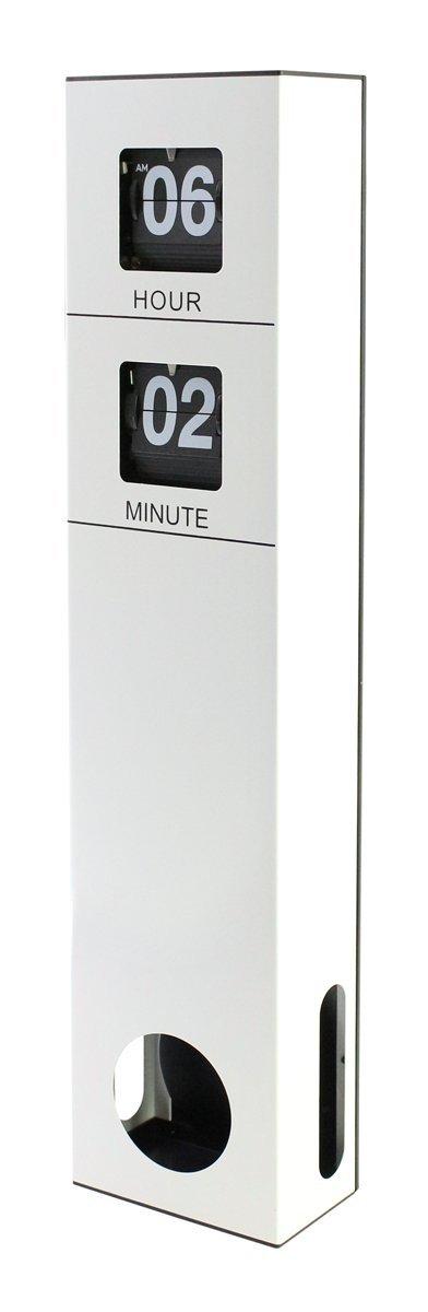 "JustNile Modern Sophisticated Decorative Tall Pendulum Wall Flip Clock- White, 18.7""x4.09""x2.3"""