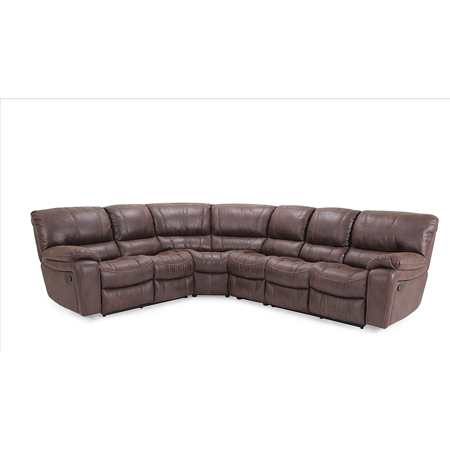 LYKE Home Brown Microsuede Sectional