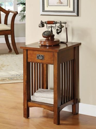 Legacy Decor Mission Style Telephone Stand / End Table in Antique Oak Finish w/ Drawer