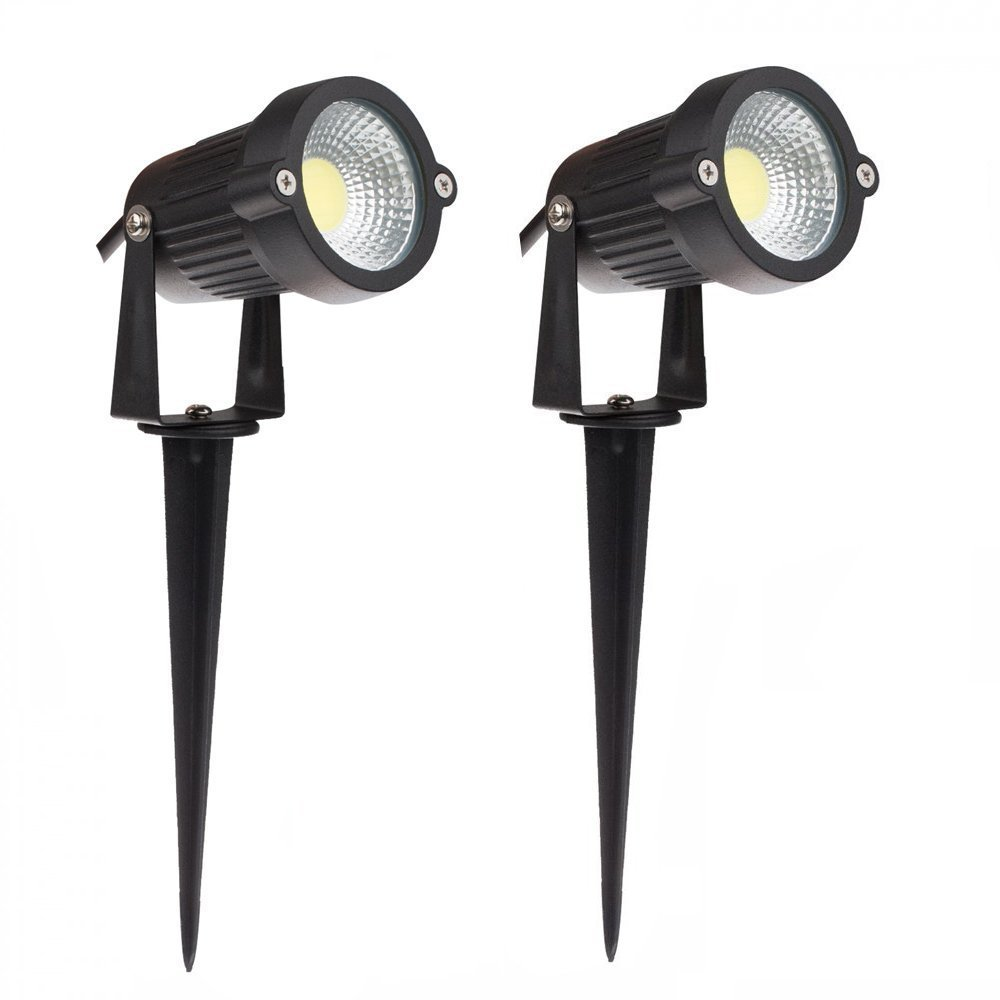 Lemonbest® High Power Outdoor Decorative Lamp Lighting 5W COB LED Landscape Garden Wall Yard Path Light Warm Cool White DC 12V w/ Spiked Stand, Pack of 2 (Cool white)