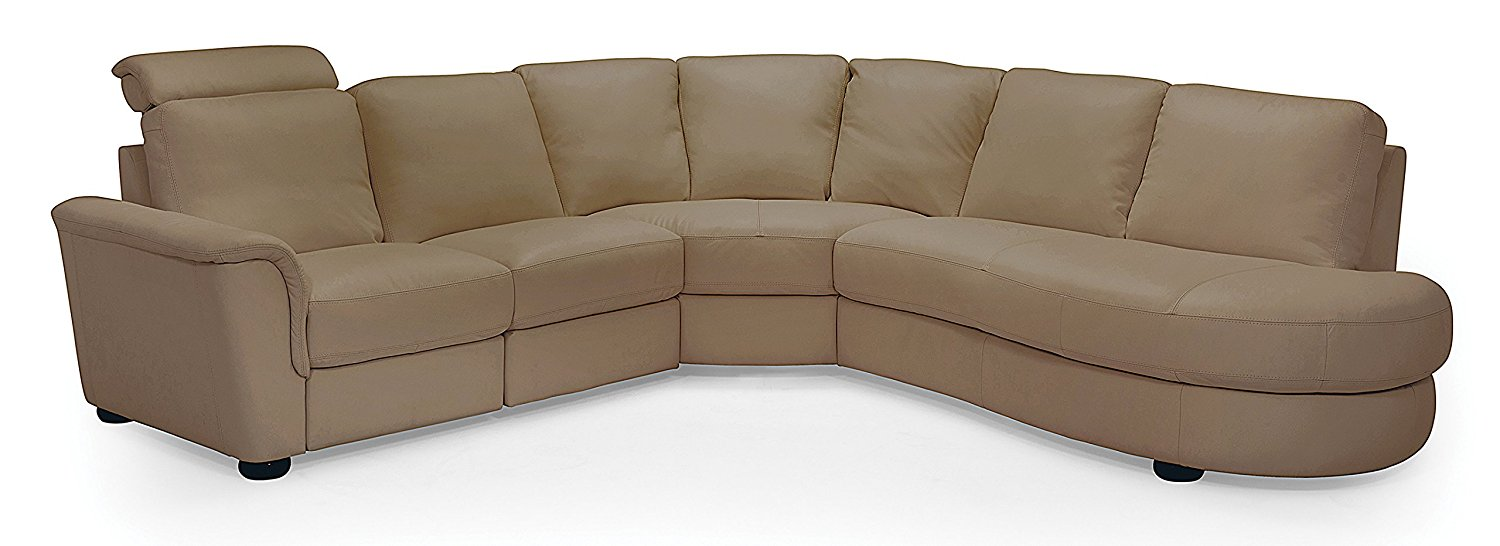 Lyon 77877 5-Seat Curved Corner Reclining Sectional with Bumper Broadway Mink