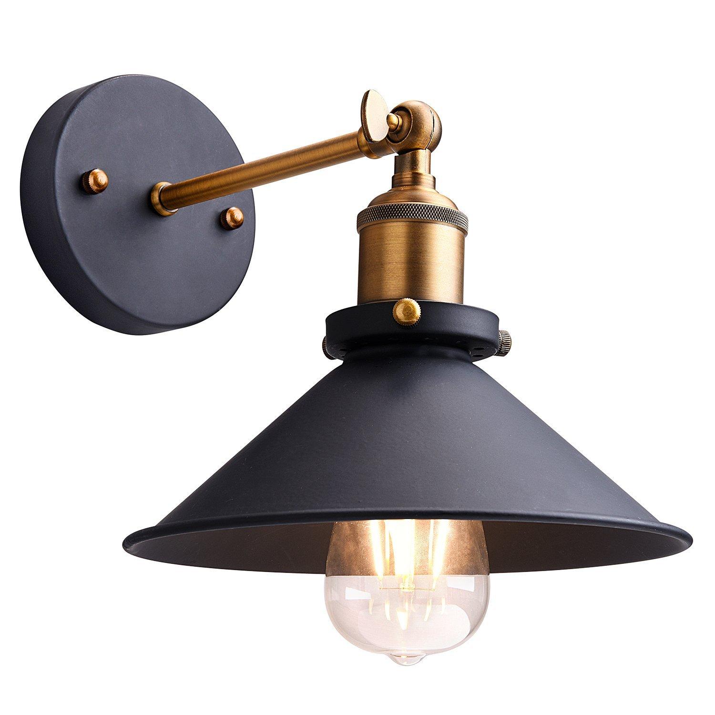 Metal Wall Sconce Lighting Shade,Oak Leaf 180 Degree Adjustable Industrial Vintage Sconce Light Wall Lamp