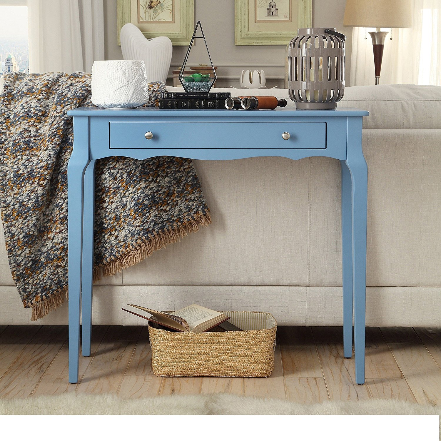 Modern Cottage Wood Narrow End Sofa Console Accent Table with Storage Drawer - Includes Modhaus Living Pen (Sky Blue)