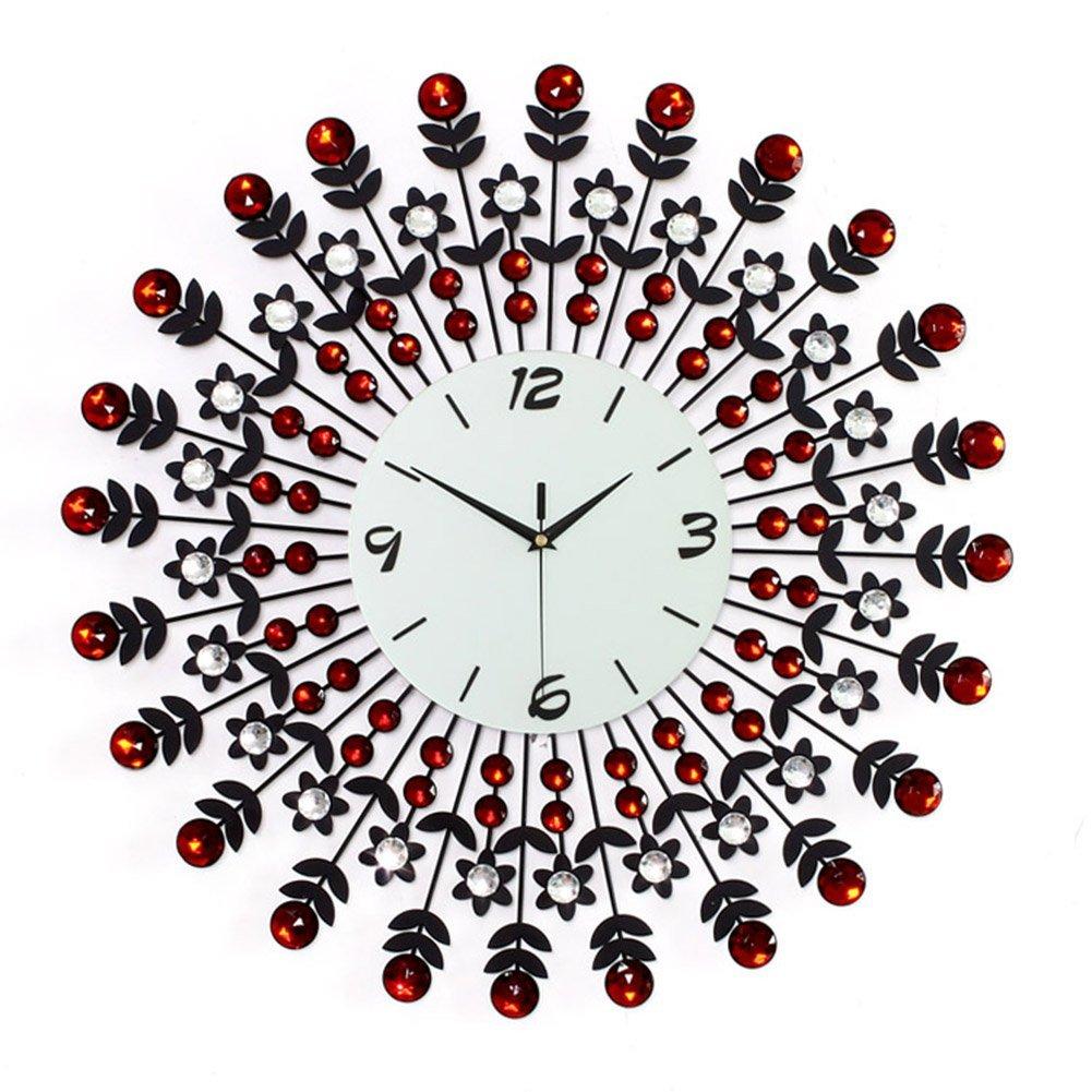 "NEOTEND 3D Wall Clock 98pcs Diamonds Decorative Clock Red Diameter 23.6"""