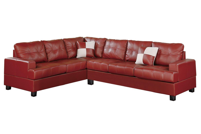 Poundex Bobkona Karen Bonded Leather 2-Piece Reversible Sectional Sofa, Burgundy