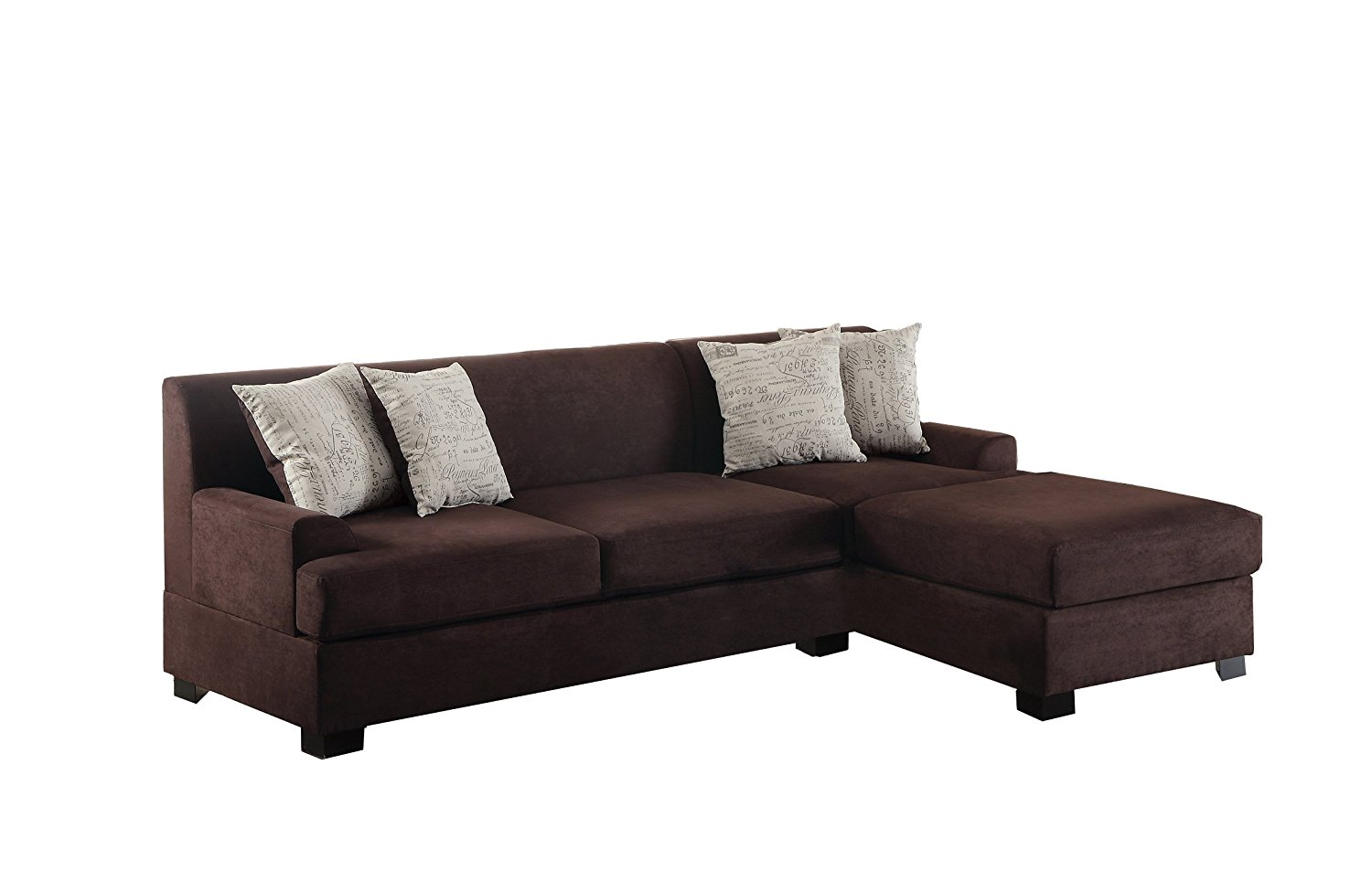 Poundex Bobkona Samuel Microsuede 3-Seat Reversible Sectional Sofa, Chocolate