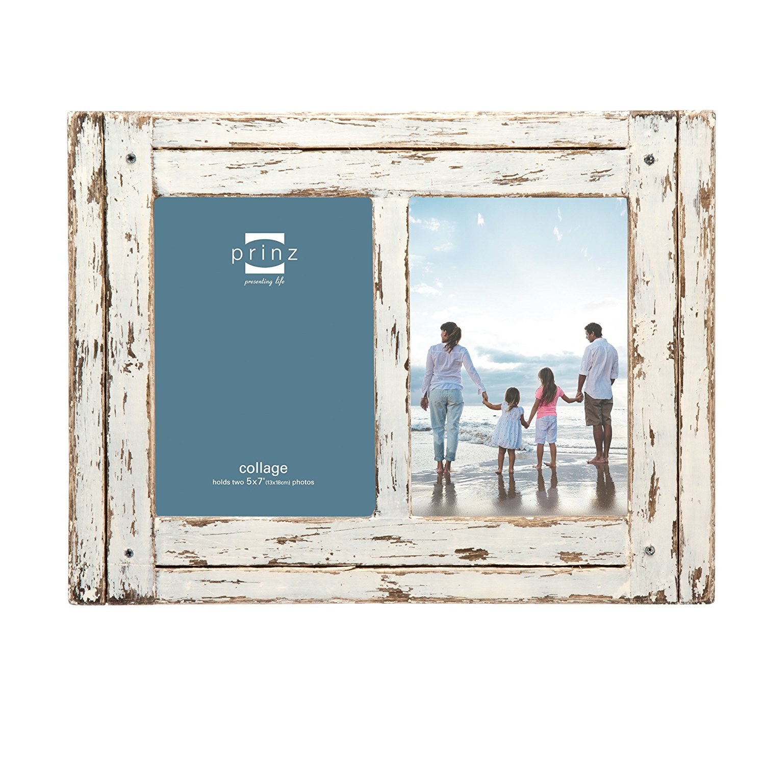"""Prinz 2 Opening Homestead Antique Wood Collage Frame, 5 x 7"""", White"""
