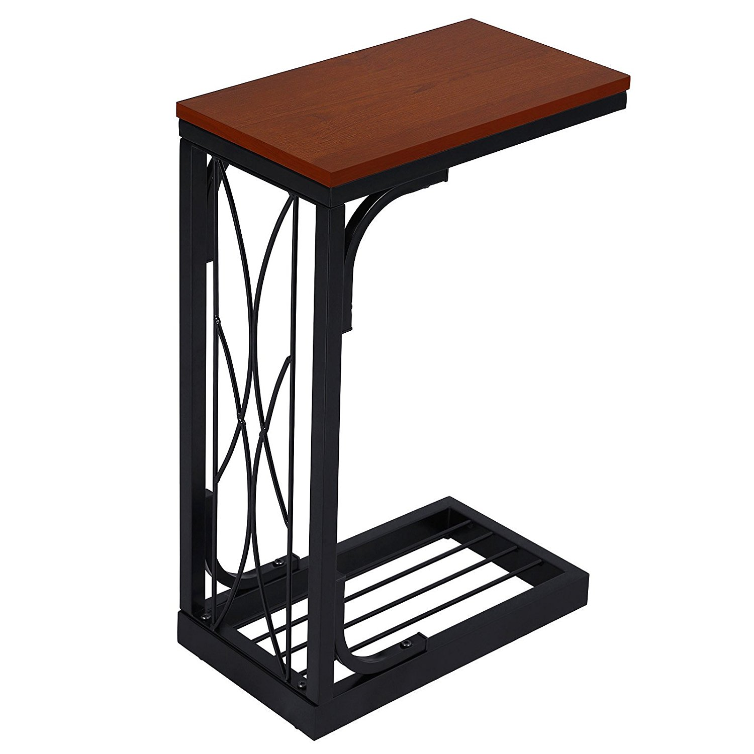 SONGMICS Snack Table Heavy-Duty Sofa Bed Side End Table W' Brown Wood Top ULNT40Z