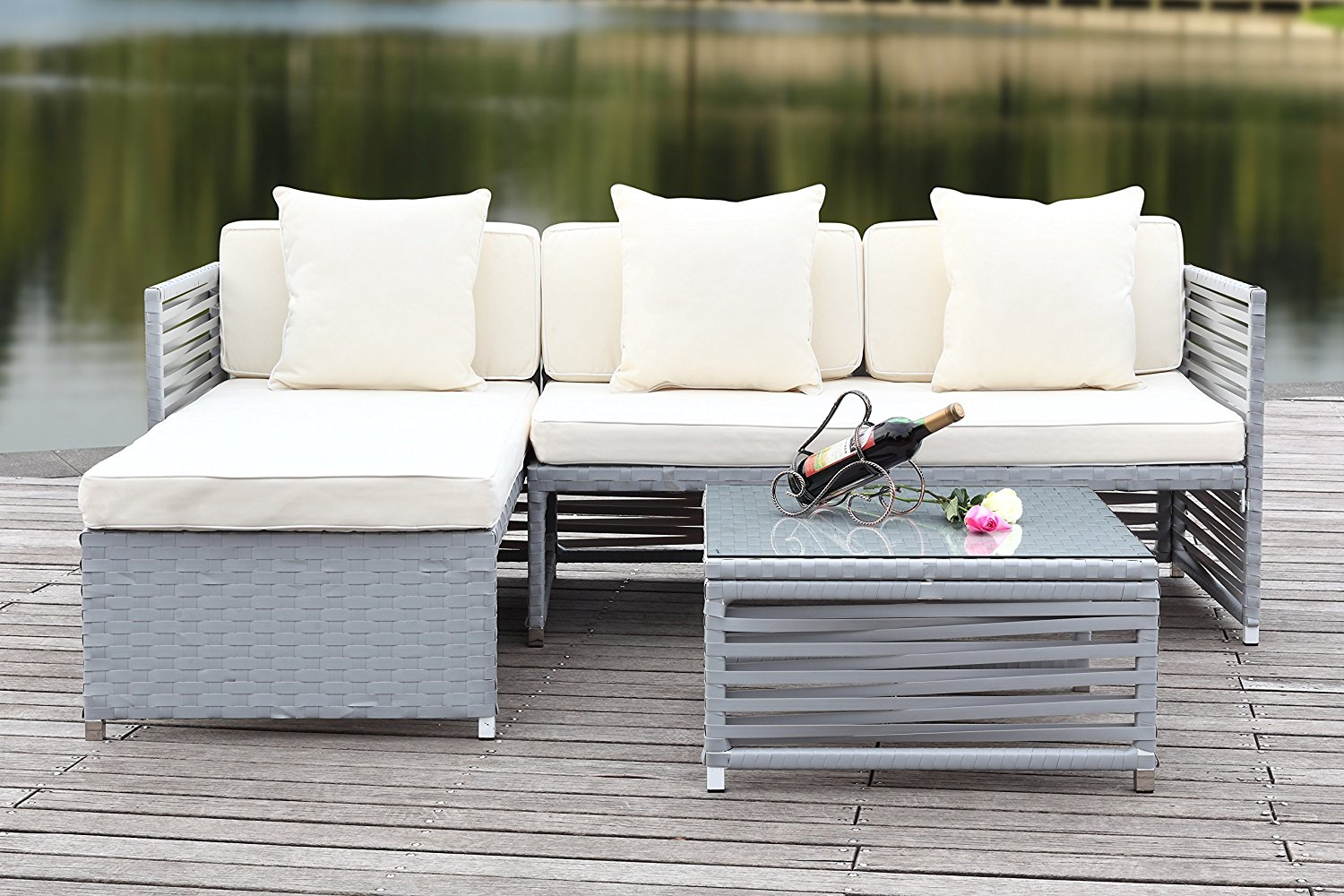 Safavieh 3-Piece Outdoor Collection Likoma Wicker Patio Set, Grey and Beige