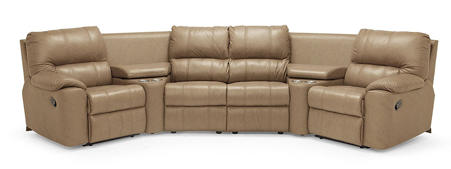 Sidney 41076 4-Seat Console Separated Angled Reclining Sectional, Classic Sandstone