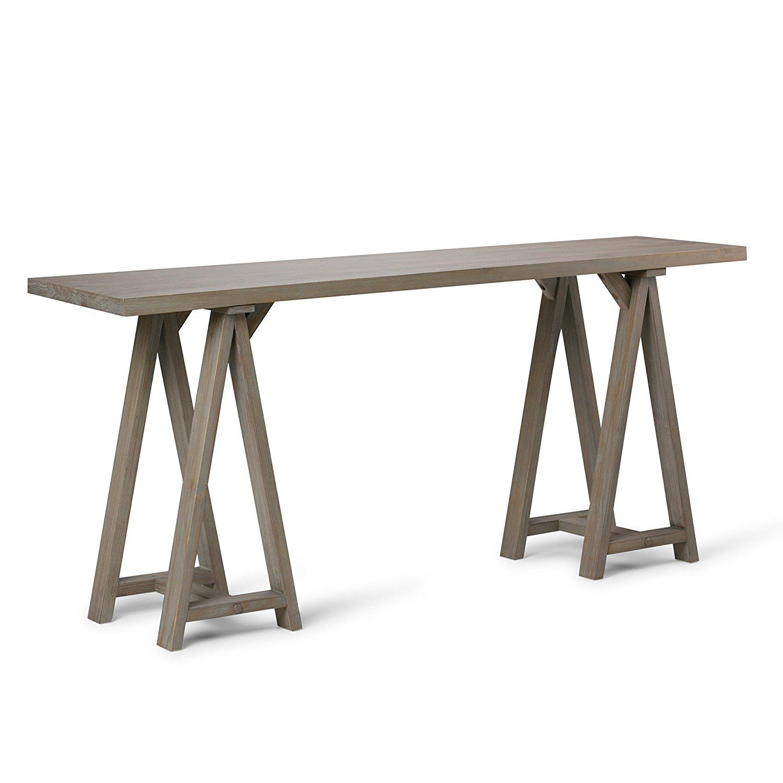 Simpli Home Sawhorse Wide Console Sofa Table, Distressed Grey