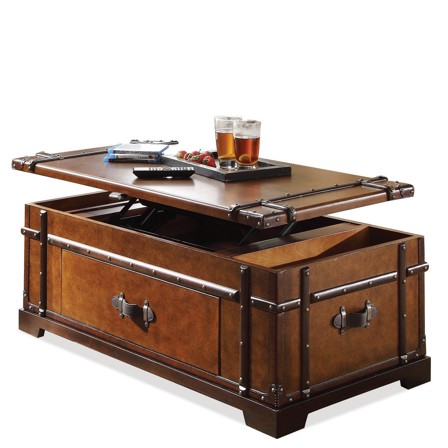 Steamer Trunk Lift-Top Cocktail Table