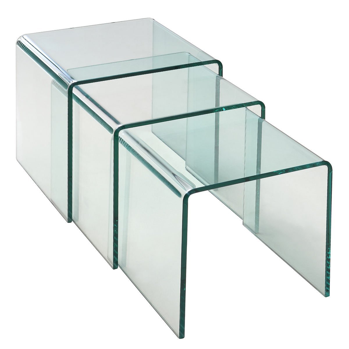 Tangkula 3 pcs End Table Set Stacking Nesting coffee tables Tempered Glass Home Living Room Furniture (TR)