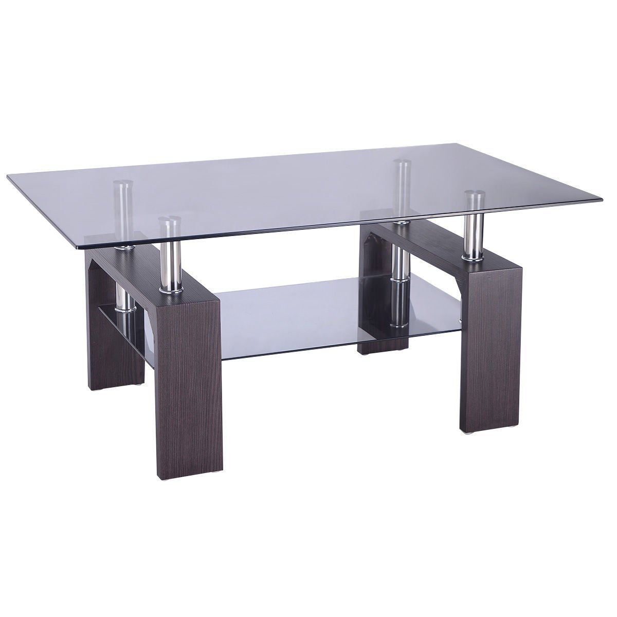 Tangkula Rectangular Glass Coffee Table Shelf Wood Living Room Home Furniture (Dark Wooden)