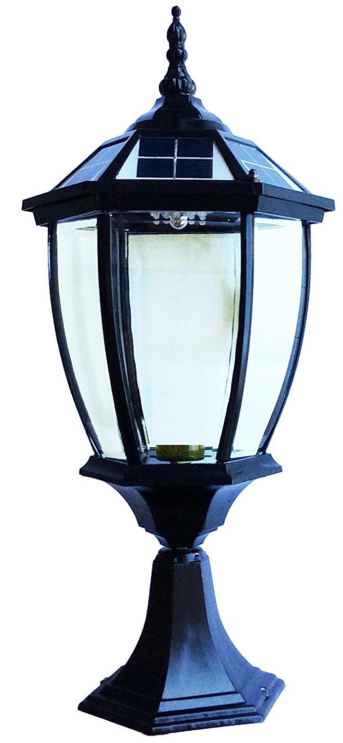 The Round Extra Large Solar Post Cap Lights or Solar Pillar, Diameter: 9.8 Inch; Height: 20.5 Inch. Solar Powered Post Caps. Elegantly Designed Solar Light Post Caps (Pure Black)