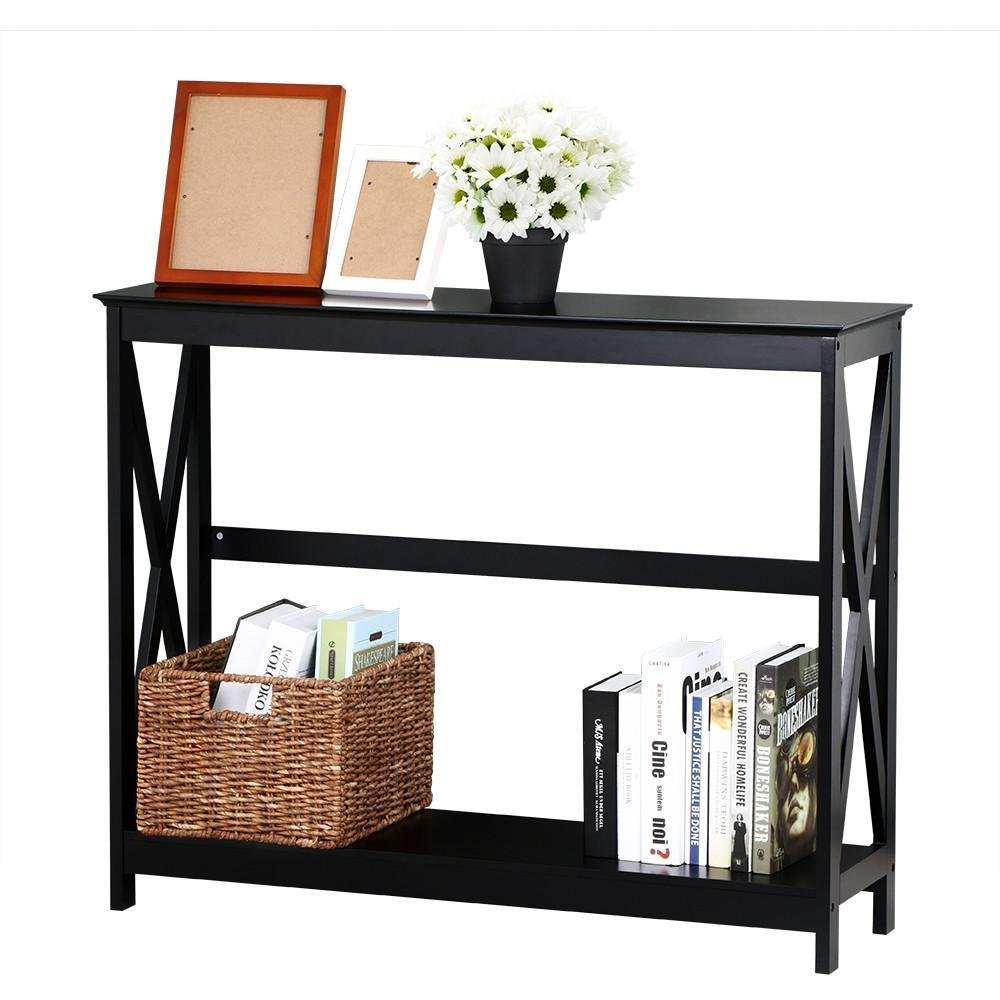 Topeakmart 2 Tier Large Black Console Table X Design Accent Tables with Storage Shelf Living Room Entryway/Hallway Furniture