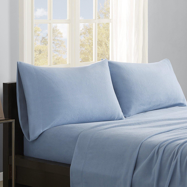 True North by Sleep Philosophy Micro Fleece Sheet Set, Queen, Blue