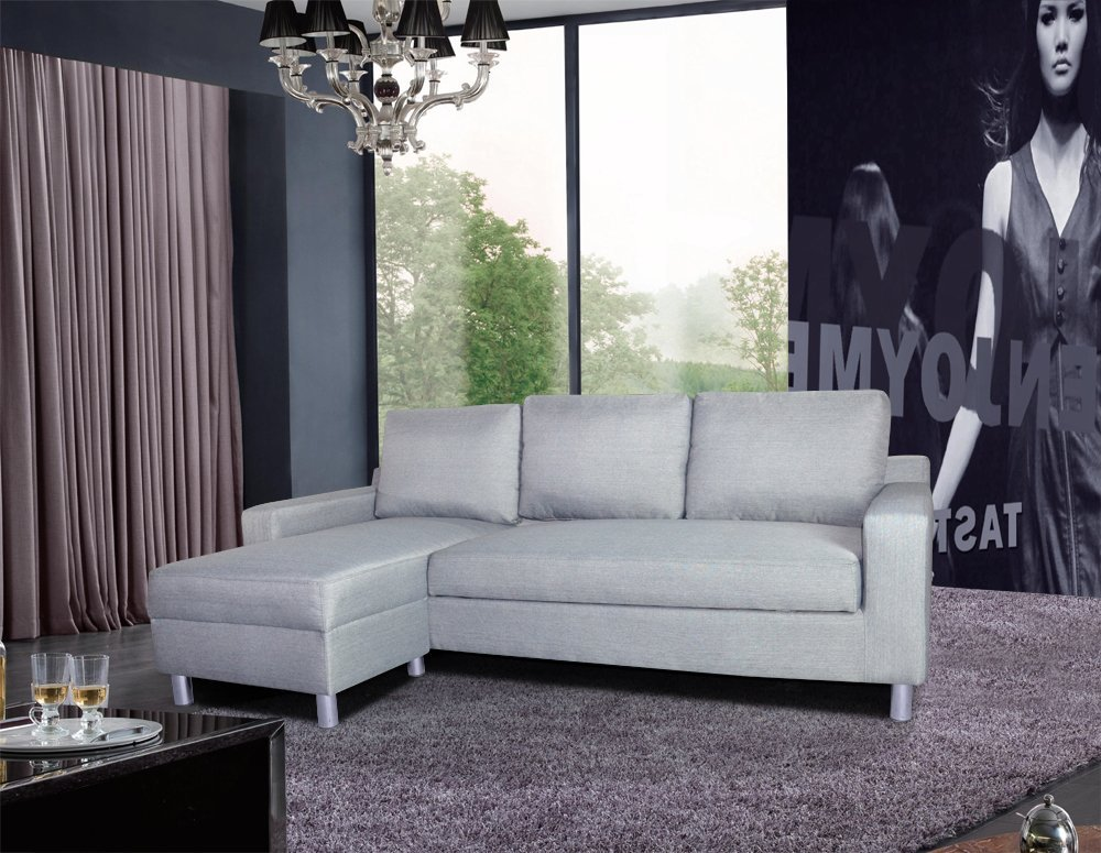 US Pride Furniture Kachy Fabric Convertible Sleeper Sectional Sofa Bed & Facing-Left Chaise, Gray