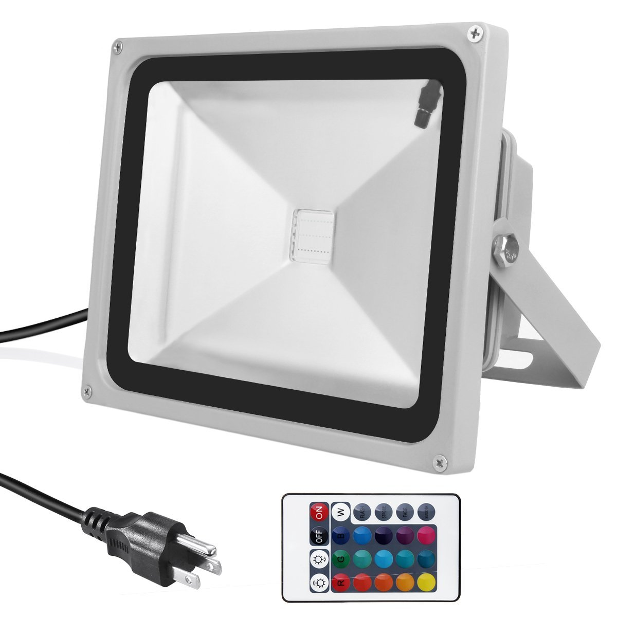Warmoon Outdoor LED Flood Light, 30W RGB Color Changing Waterproof Security Lights with 3-Prong US Plug & Remote Control