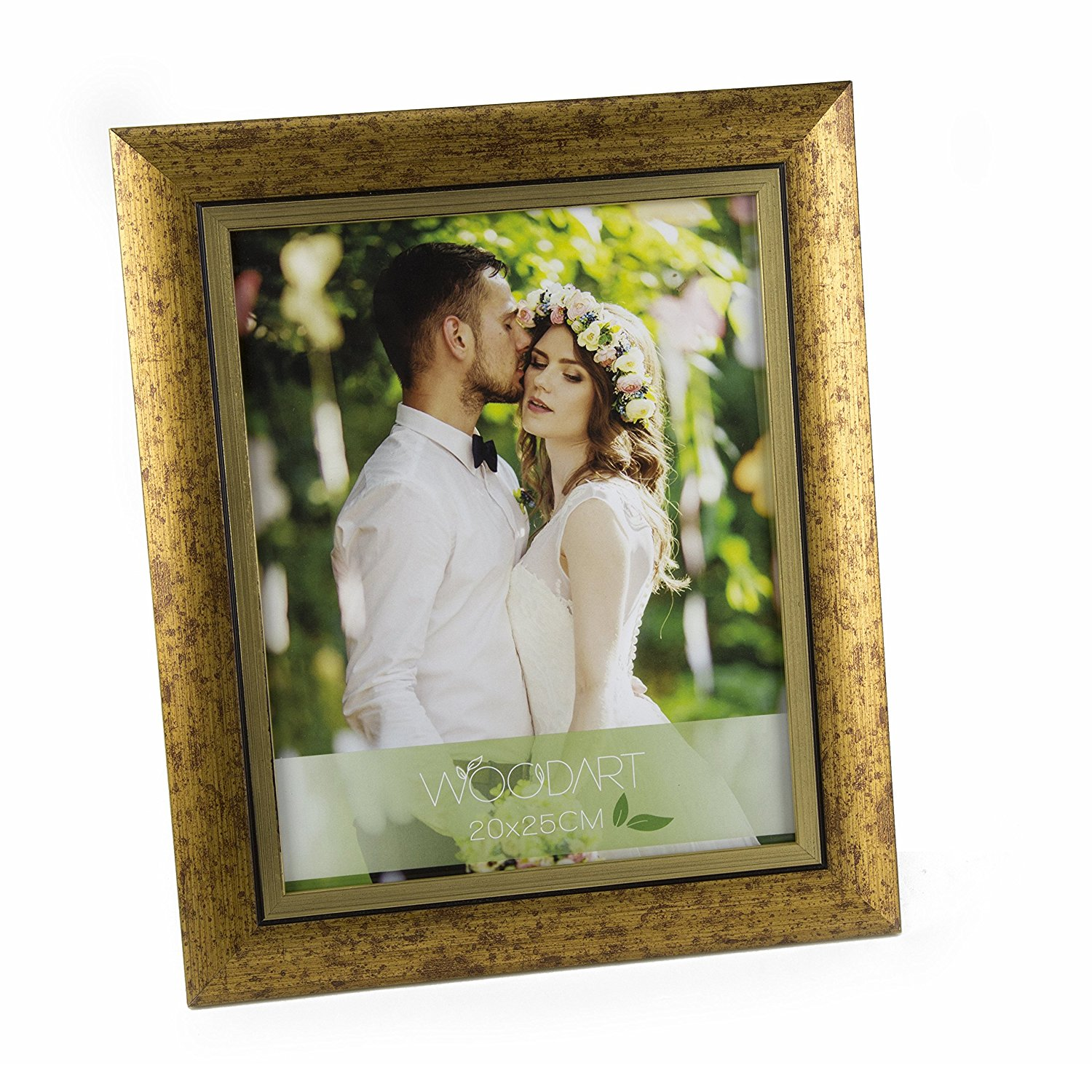 """WoodArt Crafted Wooden Picture Frame (5x7"""", Antique Gold)"""