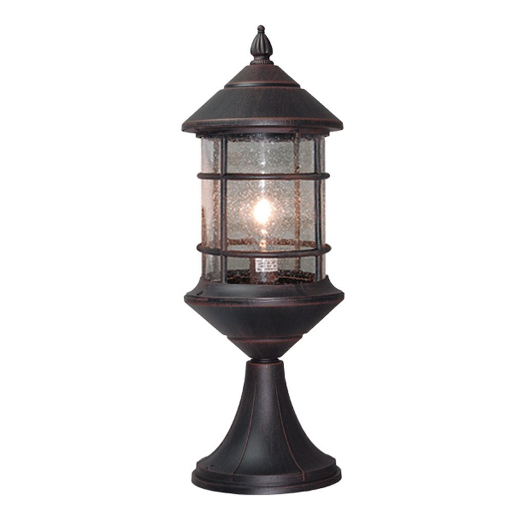 eTopLighting Bella Luce Collection Exterior Outdoor Pillar Lantern, Rust Body Finish Clear Seeded Glass