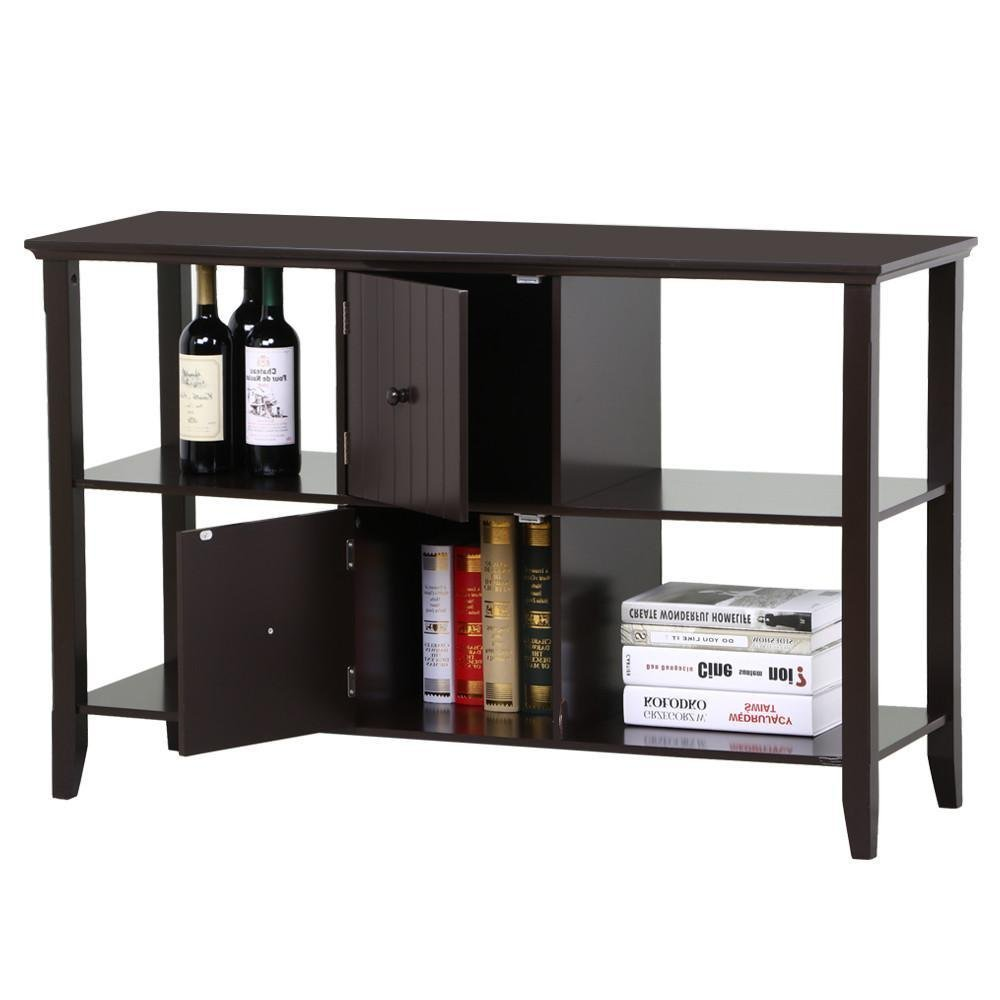go2buy 3 Tier Solid Wood Sideboard Console Table with 2 Door Storage Cabinets Modern Home Kitchen Furniture